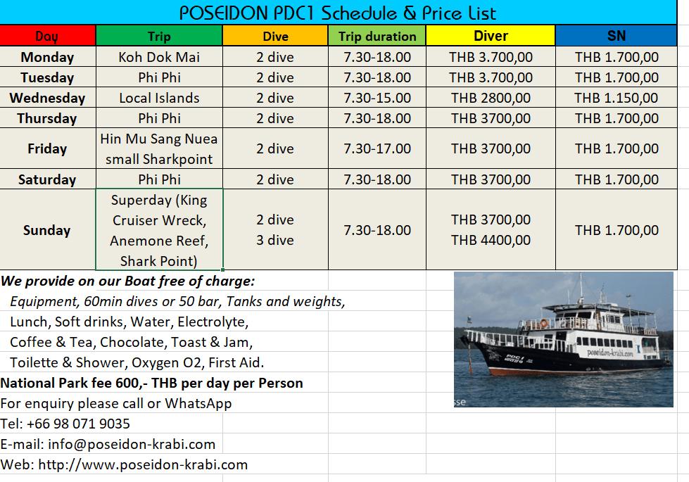 Dive Schedule 2019/2020